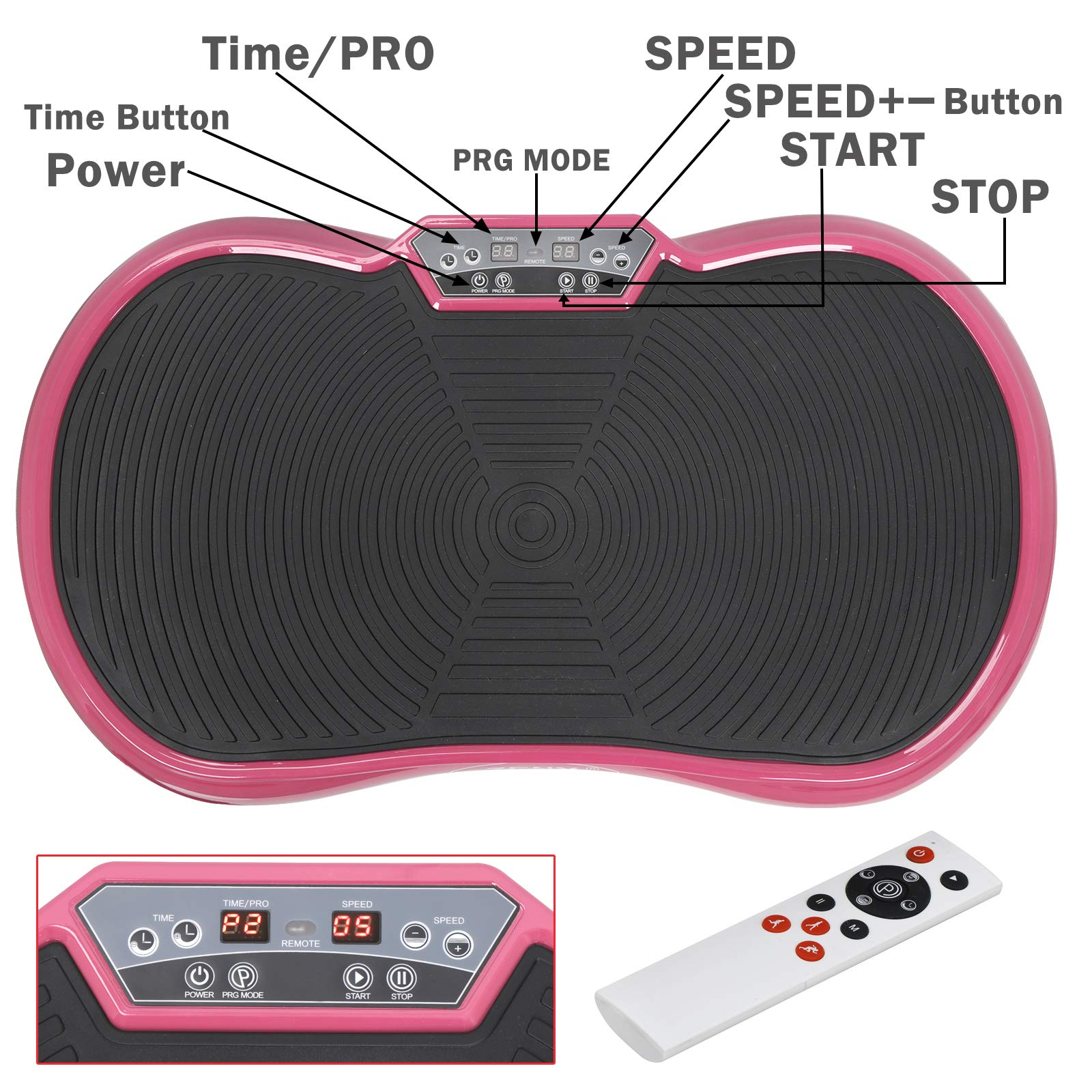 SUPER DEAL Crazy Work Out Fit Full Body Vibration Platform Massage Machine Fitness W/Bluetooth, Pink by SUPER DEAL (Image #3)