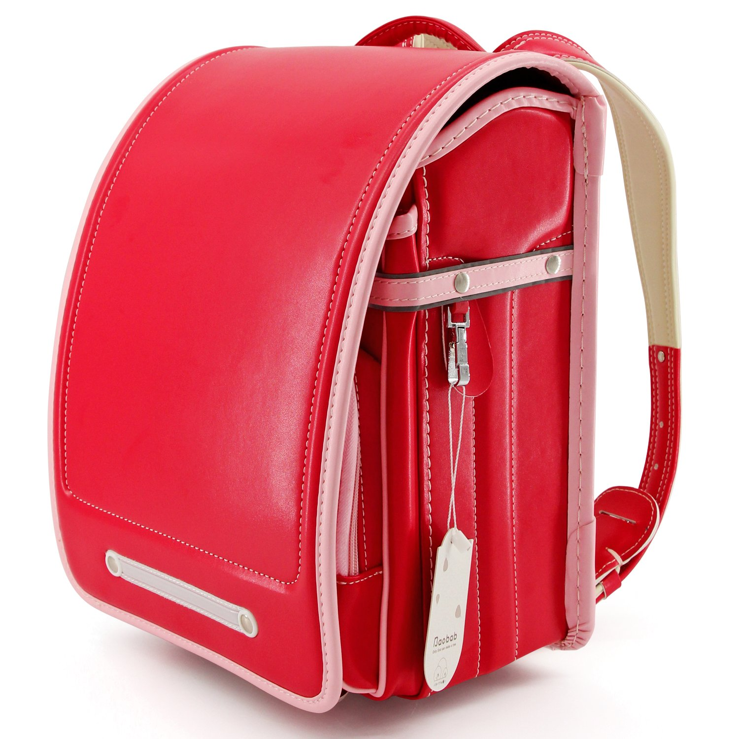 Ransel Randoseru Semi-automatic Japanese school bag for girls Senior PU leather Large capacity light weight Rain Cover (red)
