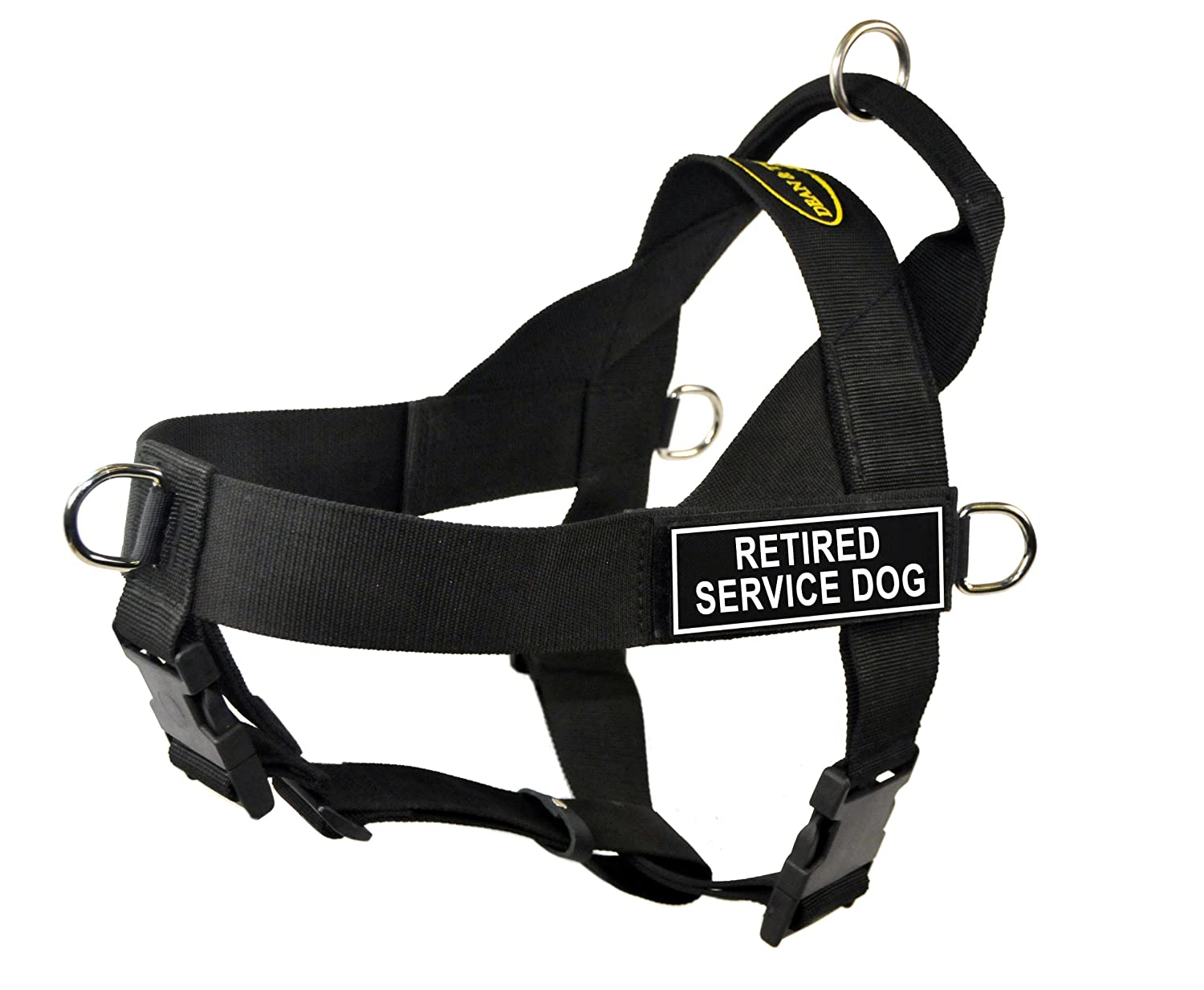 Dean & Tyler Universal No Pull 21-Inch to 25-Inch Dog Harness, X-Small, Retired Service Dog, Black