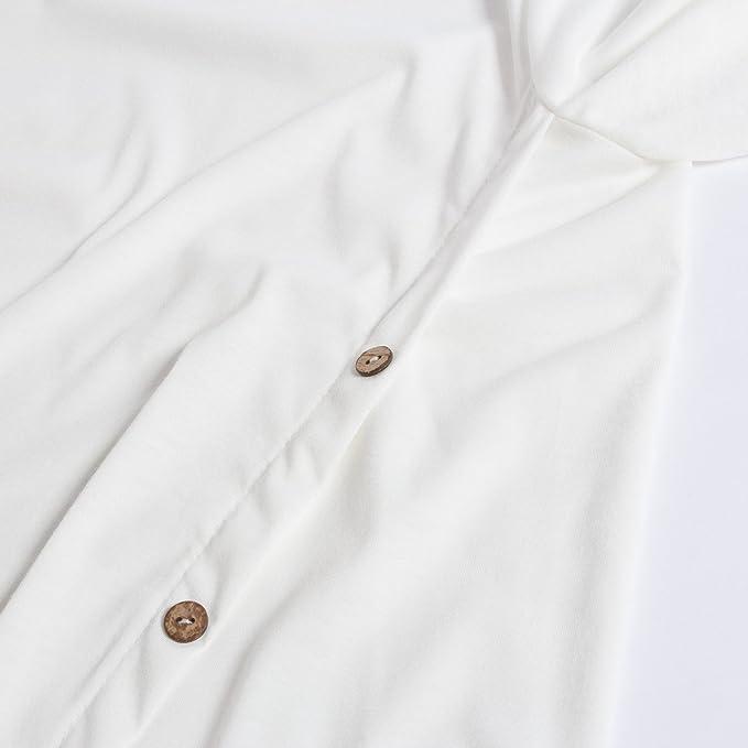 Beauty7 Camisas Mujeres Manga Larga Cuello Redondo AsimšŠtrico Botones Vestido Verano Primavera Blusas T-Shirt Casual Tops Parte Superior Camisetas Tirantes ...