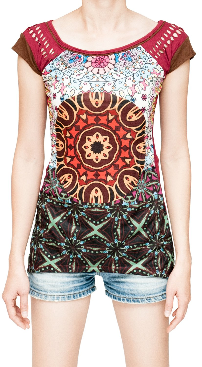 Underground Mandala Dreamcatcher Full Print Hippie Gypsy Women's T-Shirt (Large, US 12-14)