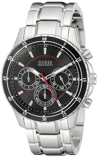 GUESS RELOJ DE HOMBRE CUARZO CORREA Y CAJA DE ACERO DIAL NEGRO U0676G1: Guess: Amazon.es: Relojes
