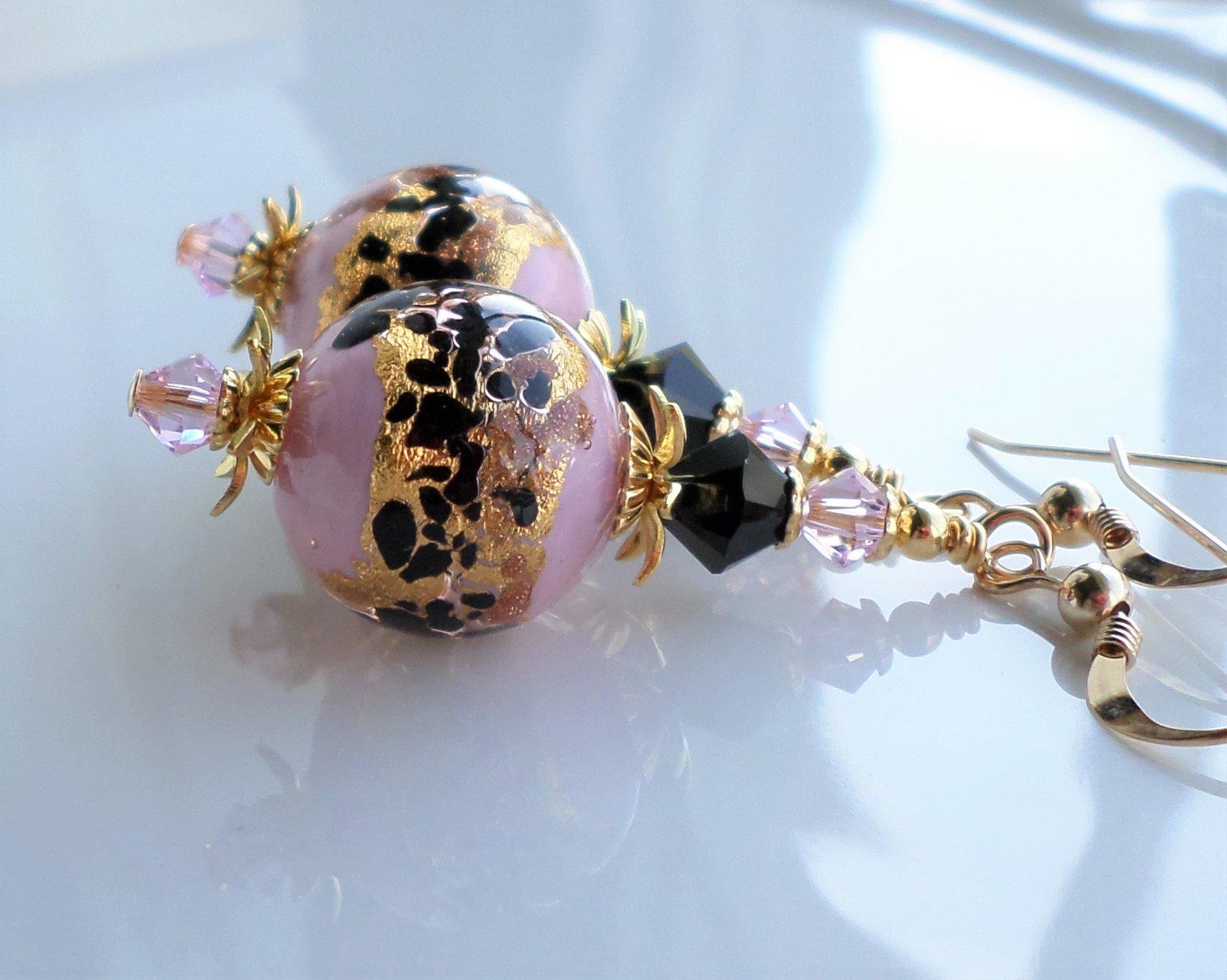 Pink Black Murano Earrings