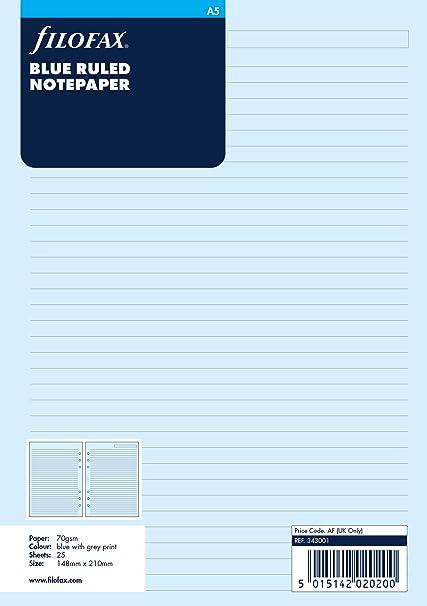 Filofax - Recambio de hojas para archivador (tamaño A5, a rayas), color