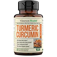Turmeric Curcumin with BioPerine Black Pepper, 95% Curcuminoids. Inflammation Balancing Properties, Occasional Joint Discomfort Relief, Natural Immune Support Supplement. Vimerson Health 60 Capsules