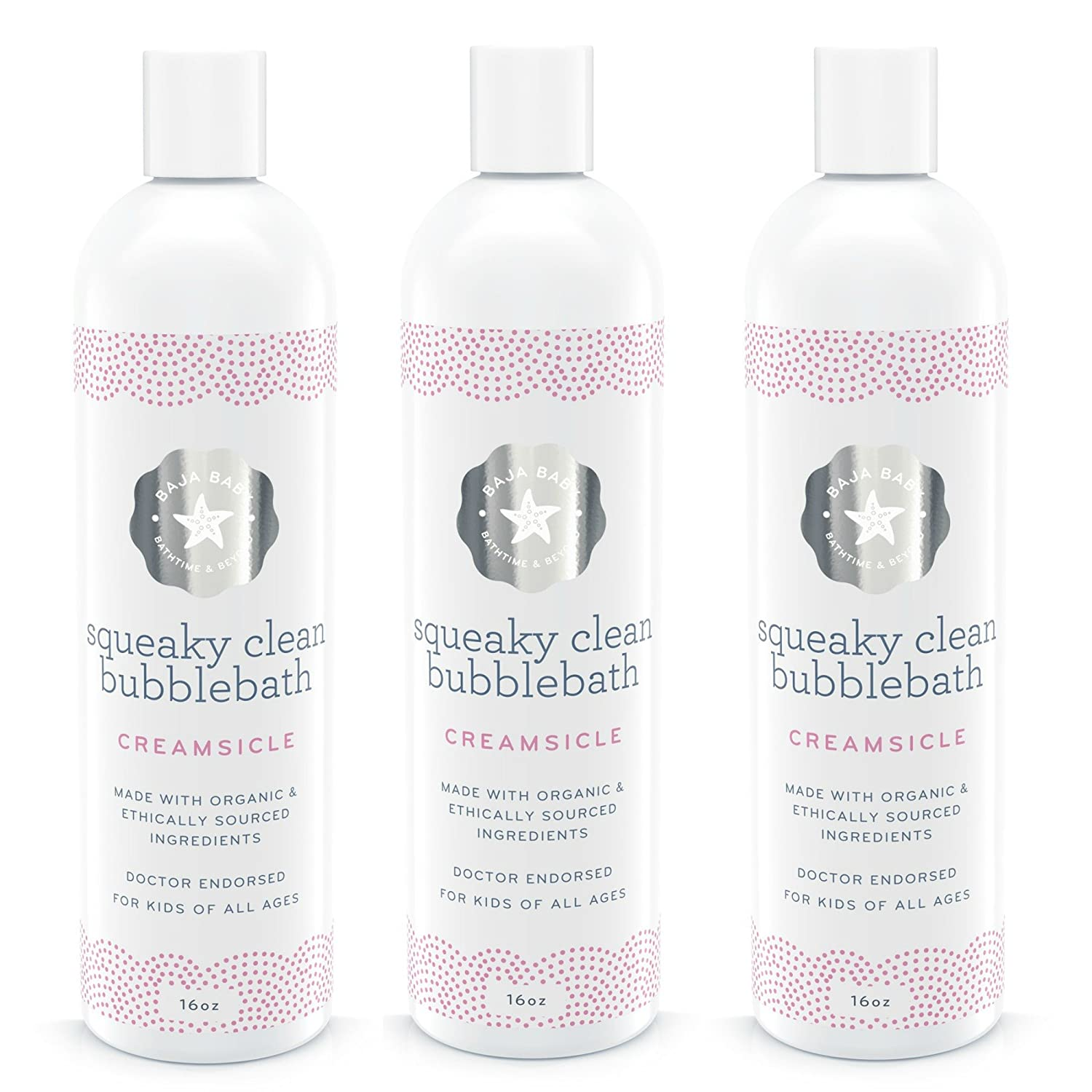 Baja Baby Creamsicle Bubble Bath - EWG VERIFIED- 16oz - Free of Sulphates, Parabens, and Phosphates - Organic, Natural Bubble Bath - Dr. Approved - 100%! (1 Bottle)