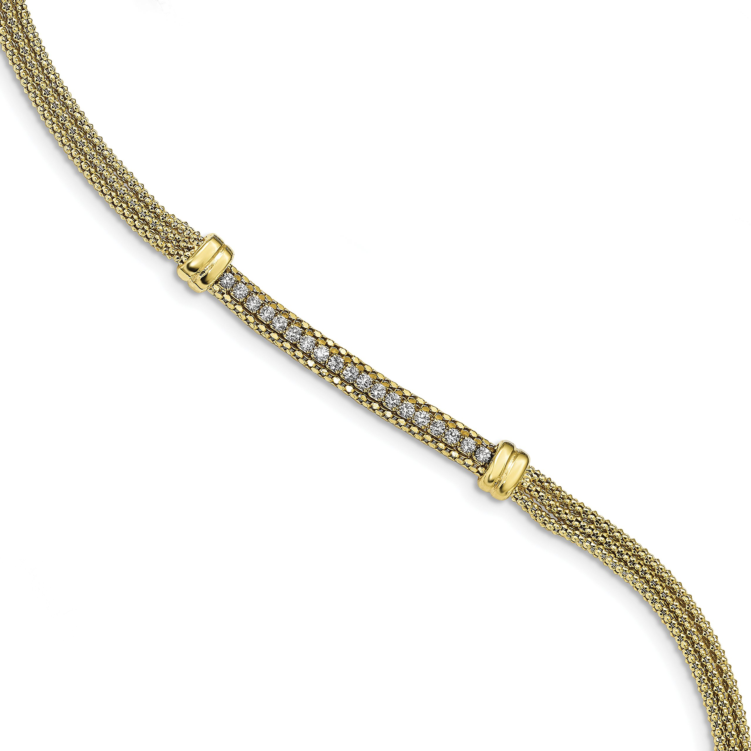 ICE CARATS 925 Sterling Silver Gold Tone Cubic Zirconia Cz Center 3 Strand .5in Extension Bracelet 7 Inch Fancy