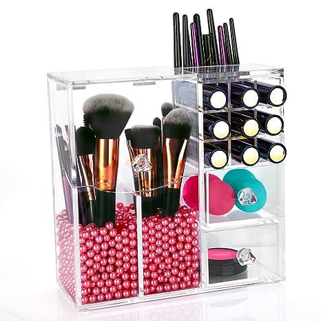 HBF Organizador De Maquillaje Acrílico Transparente con Perla Rosa Organizador Pincel De Maquillaje Cajas Acrilicas para