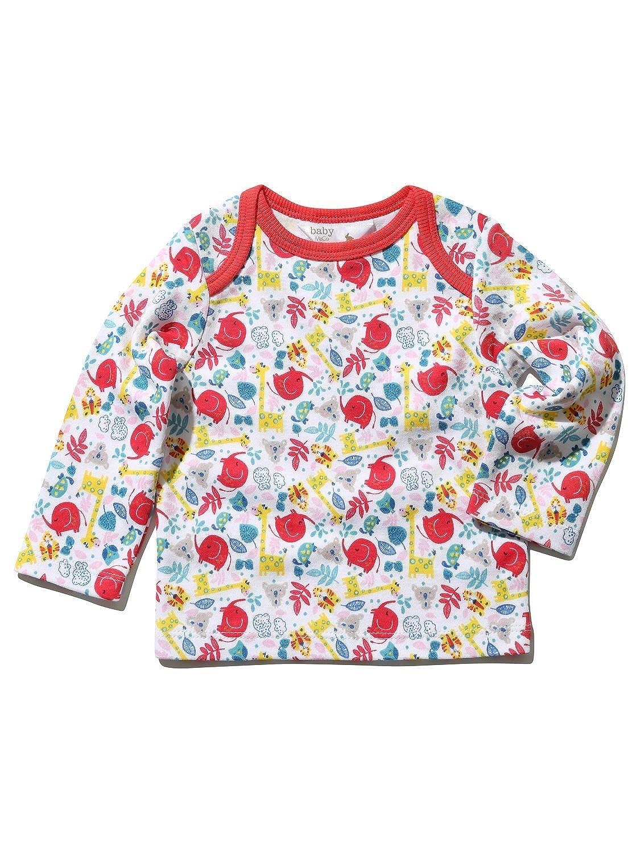M& Co Newborn Unisex Baby Red Elepahnt Jungle Animal Print Long Sleeve Envelope Neck T-Shirt