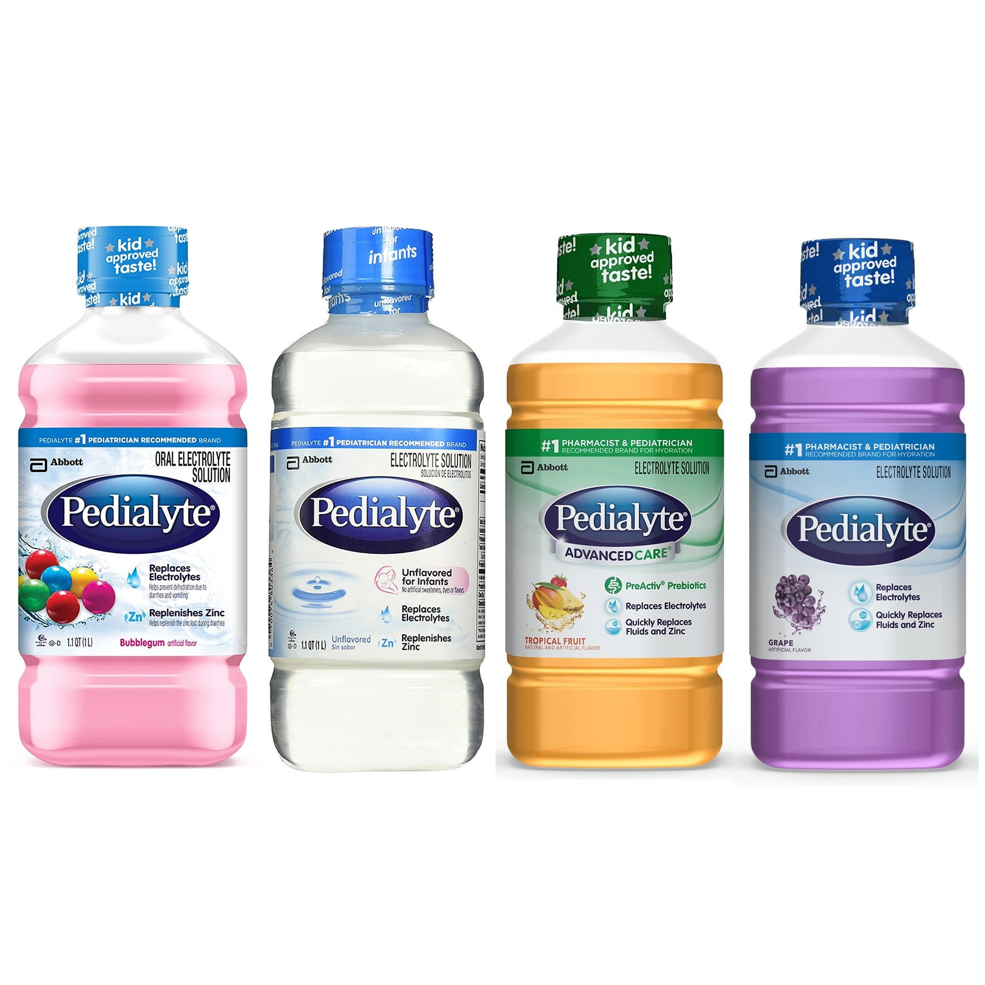Pedialyte® Ready-to-Feed 1L Bottle, Low Osmolality, Oral Electrolyte Maintenance Solution -4 Flavors