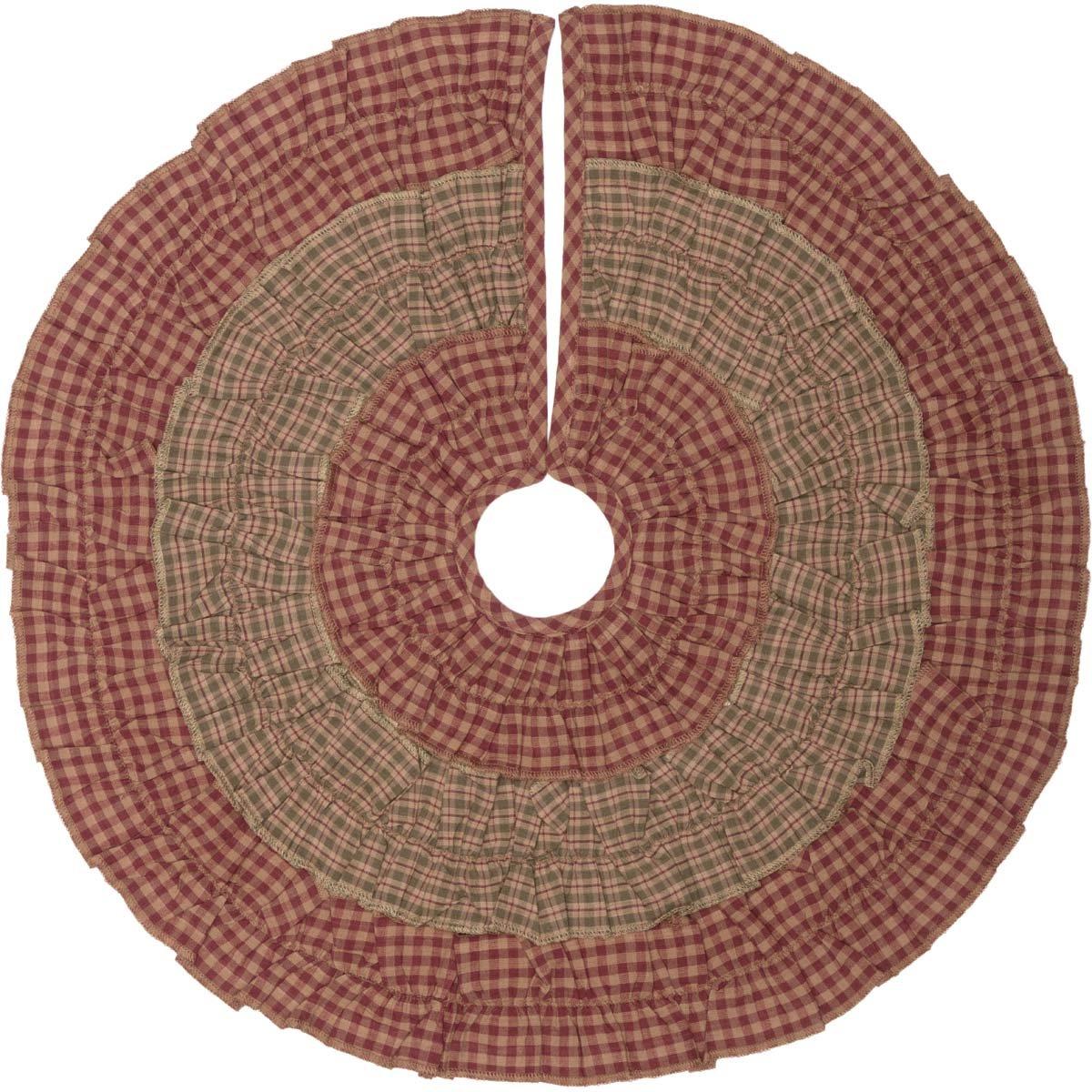 VHC Brands Holiday Decor-Sequoia Red Mini Tree Skirt, 21'' Diameter