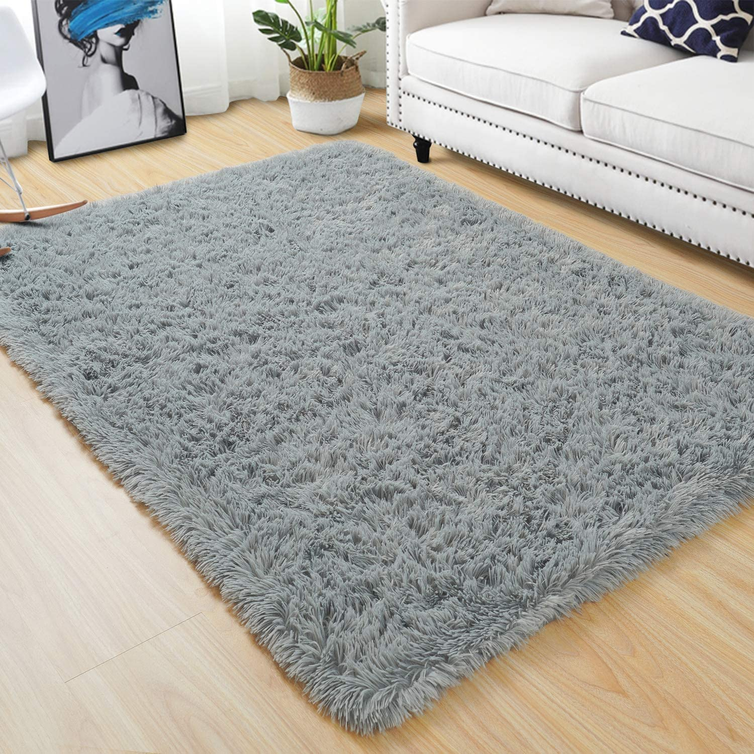 Quenlife Fluffy Bedroom Rug Plush and Soft Nursery Rugs Shaggy Carpet for Kids Grils Room Furry Children Home Decoration Shag Floor Rugs with Anti-Slip Bottom, 4 x 6ft, Grey