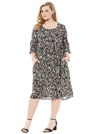 2e134ce6650 Roamans Women s Plus Size Cutout Crinkle Dress at Amazon Women s Clothing  store