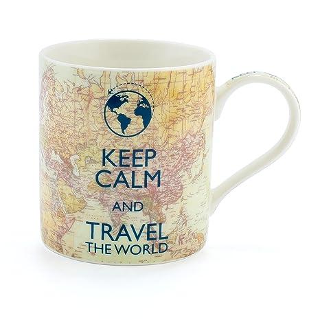 Taza de porcelana fina con texto en inglés «Keep Calm and Travel The World»