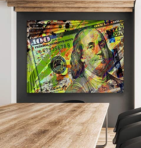 100 Dollars Bill Wall Art Canvas Print Office Decor Motivational Pop Art Money Entrepreneur Dollars Bill Cash Benjamin Franklin Dollar Art 36″ x 48″
