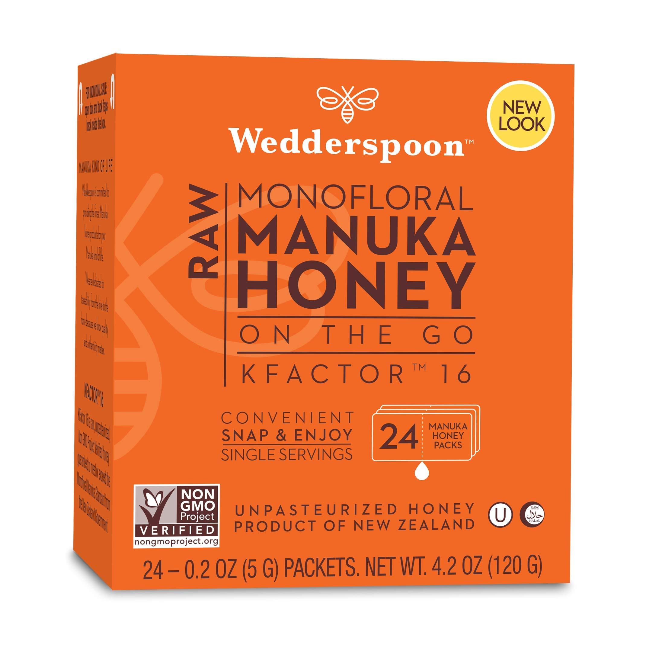 Wedderspoon On The Go Raw Premium Manuka Honey KFactor 16 Packets, 4.0 Oz (24 Count), Unpasteurized, Genuine New Zealand Honey, Multi-Functional, Non-GMO Superfood