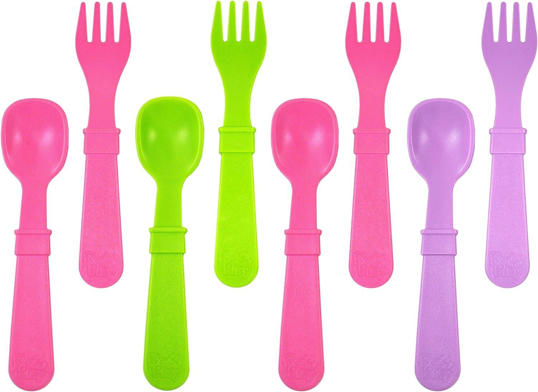 Re-Play, Juego de Cubiertos para niños, 4 cucharas y 4 Tenedores, sin BPA, sostenible Gracias al Material Reciclado, Fabricado en Estados Unidos.