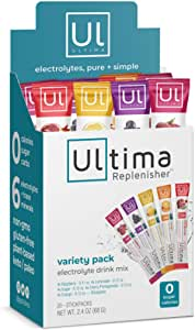 Ultima Replenisher Electrolyte Hydration Powder, Variety Pack, 20 Count Stickpacks - Sugar Free, 0 Calories, 0 Carbs - Gluten-Free, Keto, Non-GMO with Magnesium, Potassium, Calcium