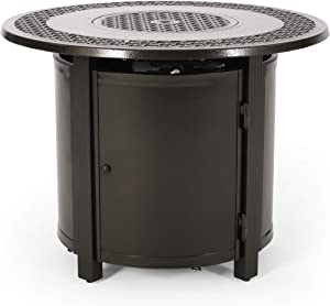 Christopher Knight Home 312973 Richard Outdoor Round Aluminum Fire Pit, Hammered Bronze
