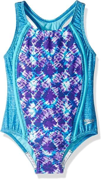 New Speedo Girls Swimsuit 16 Tropical Blue One Piece Racerback