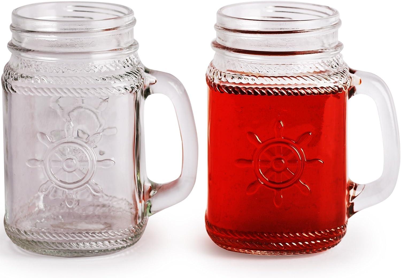 Circleware Yorkshire Mason náuticas rueda tarro de cristal tazas, 17 onzas, juego de 4, edición limitada cristal vaso bebida tazas/refrigeradores: Amazon.es: Hogar
