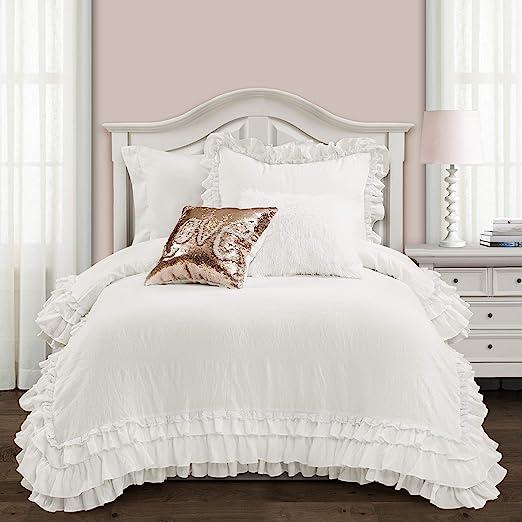Amazon Com Lush Decor White Ella Shabby Chic Ruffle Lace 2 Piece Comforter Set Twin Xl Home Kitchen