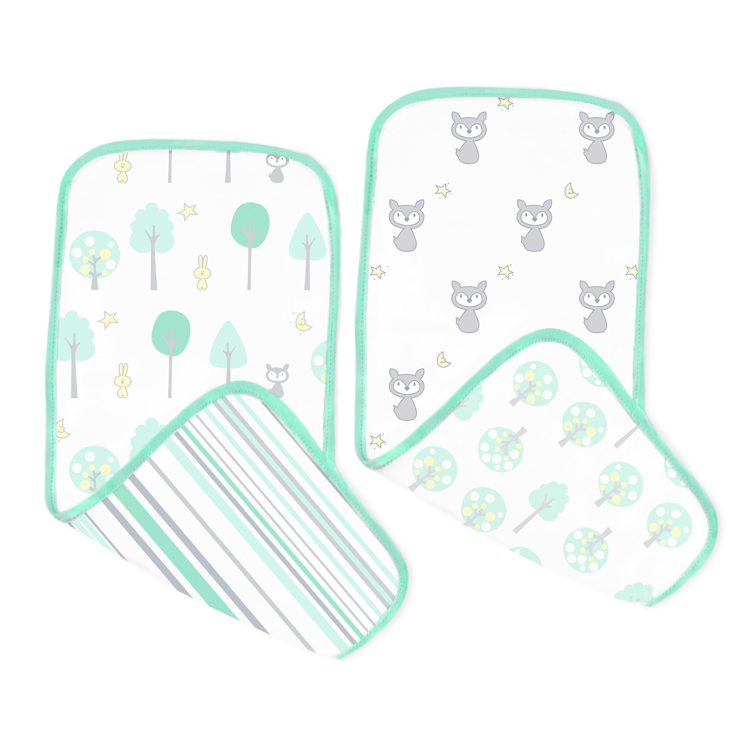SwaddleDesigns Cotton Muslin Baby Burpies, Set of 2 Cotton Burp Cloths, Green Woodland by SwaddleDesigns