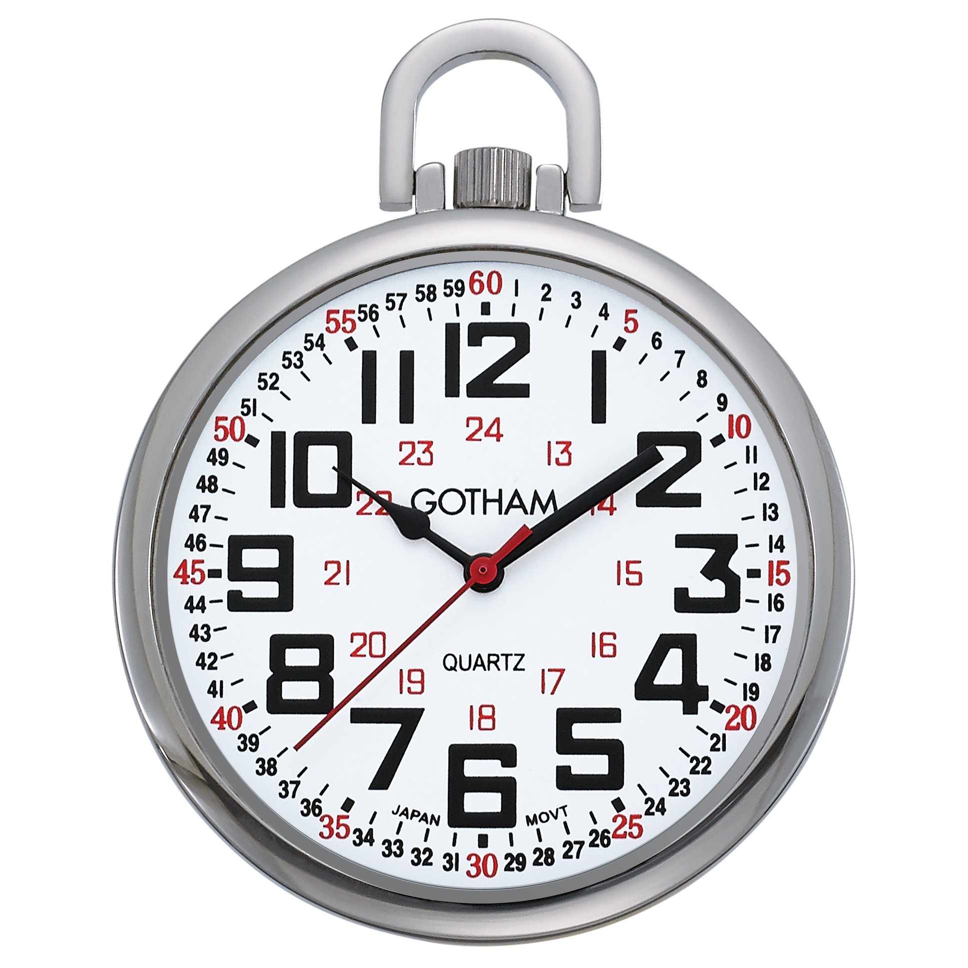 Gotham Men's Silver-Tone Slim Railroad 24 Hour Open Face Quartz Pocket Watch # GWC15029S by Gotham