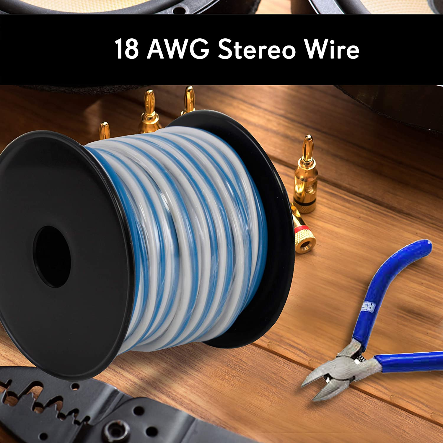 Surround Sound System TV Home Theater and Car Stereo Waterproof Marine Grade Cable in Spool for Connecting Audio Stereo to Amplifier PLMRSW50 50ft 18 Gauge Speaker Wire