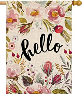 Vintage Hand Drawn Floral 28 x 40 House Flag Summer Double Sided, Hello Burlap Garden Yard Decoration, Floral Seasonal Outdoor Decor Decorative Spring Large Flag Watercolor Flower