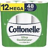 Cottonelle Toilet Paper, 12 Mega Rolls, Ultra Gentlecare, Sensitive Bath Tissue, Aloe & Vitamin E 12 count