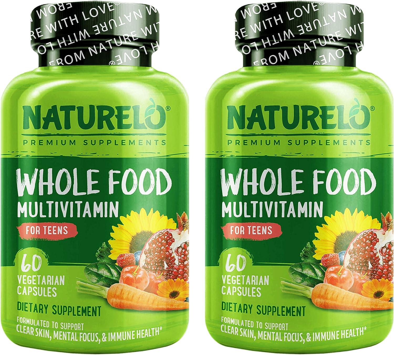 NATURELO Whole Food Multivitamin for Teens - with Vitamins, Minerals, Organic Fruits & Veggies - Non-GMO - Vegetarian - 120 Vegan Capsules