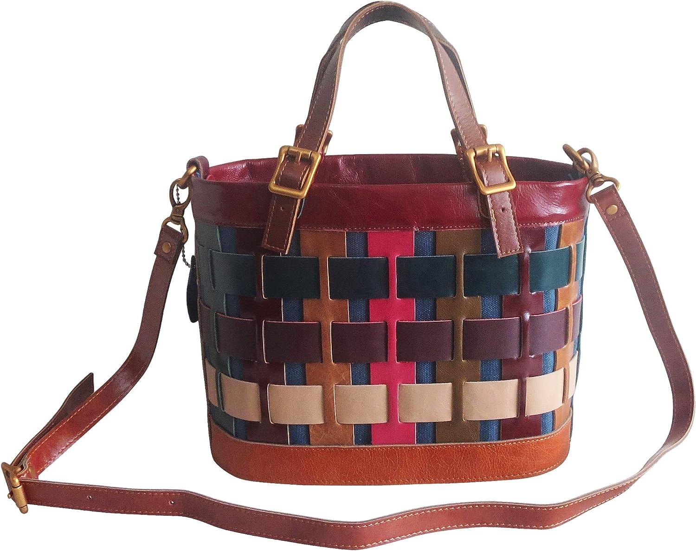 Amerileather Dorgon Leather Rainbow Basket Handbag (#1280-9)