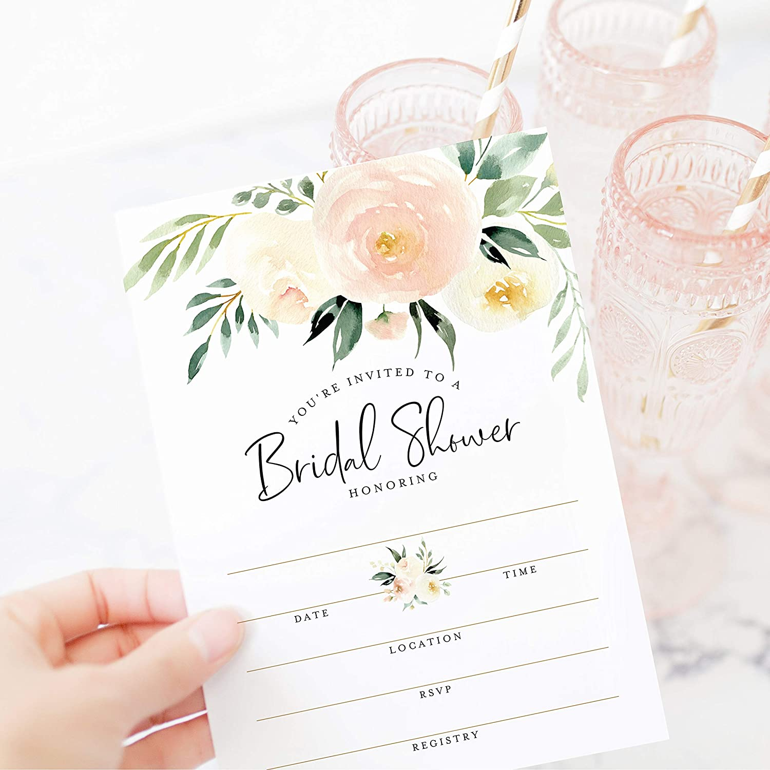 Bliss Collections Bridal Shower Invitations with Envelopes, 25 Cards + 25 Envelopes, 5x7 Blank Fill-In Invites in Coral Greenery Watercolor Floral Design Matches Your Party Decorations