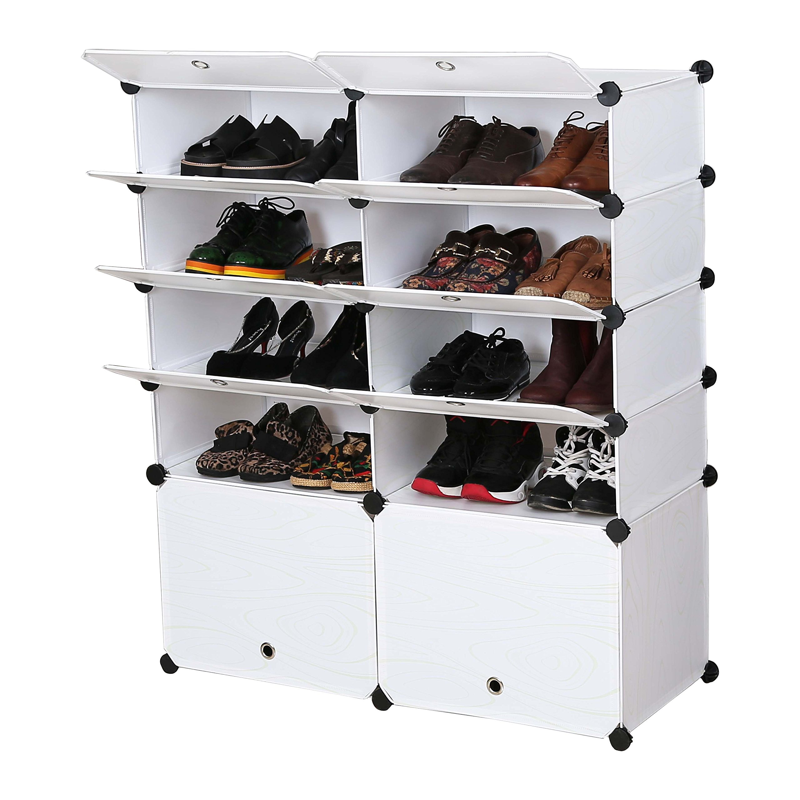 UNICOO - Multi Use DIY Plastic 10 Cube Shoe Rack,Organizer, Bookcase, Shoes Cabinet (25 With Boots Cube, White Wood Grain) by UNICOO (Image #3)