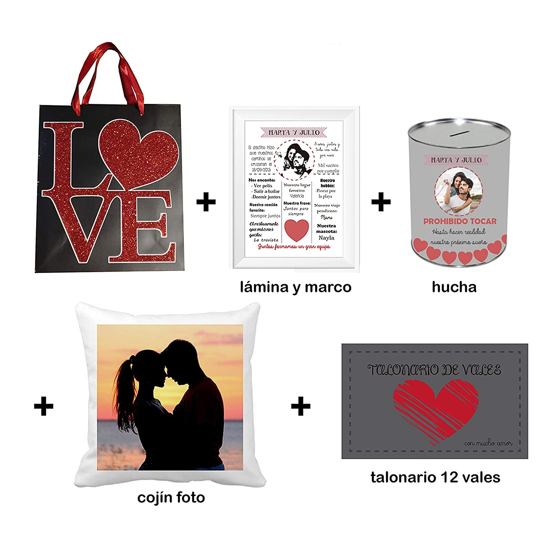 Regalo Enamorados/Pack 5 Piezas/Lámina con Marco + Hucha + ...