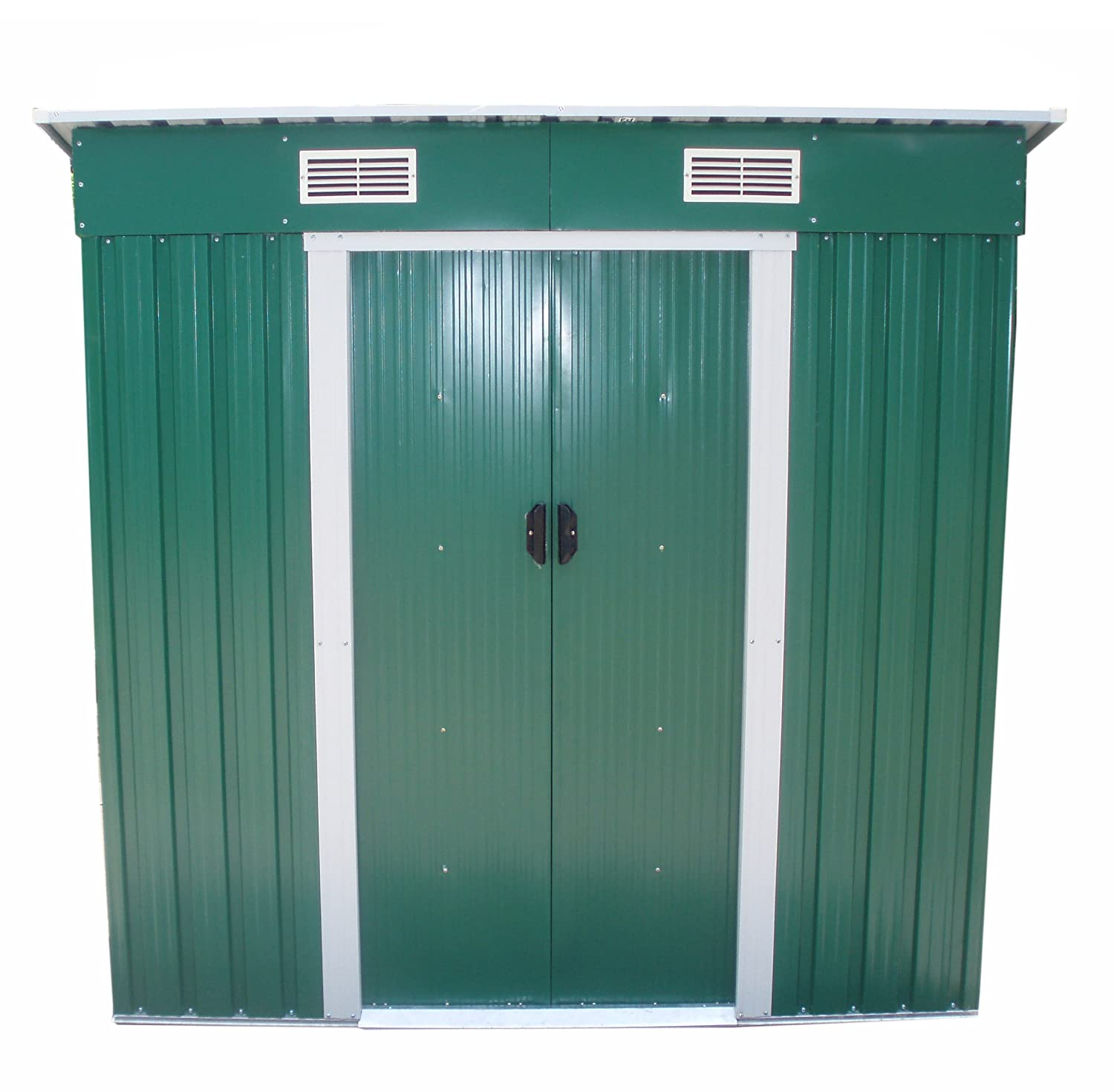 foxhunter garden shed metal pent roof 4ft x 6ft outdoor storage with free foundation green and white amazoncouk garden outdoors