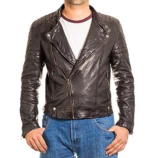 Mens Brando Cross Zip Padded Quilted shoulder// Sleeves Double Belt Biker Jacket