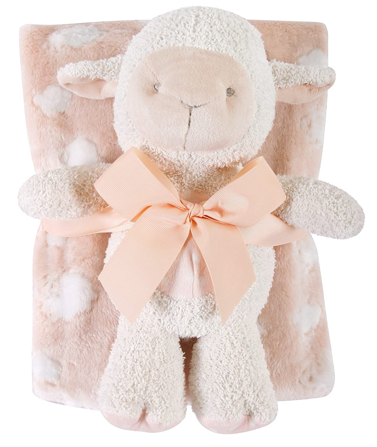 Gray Lamb Stephan Baby Snuggle Fleece Crib Blanket and Plush Toy Set Available in 13 Designs