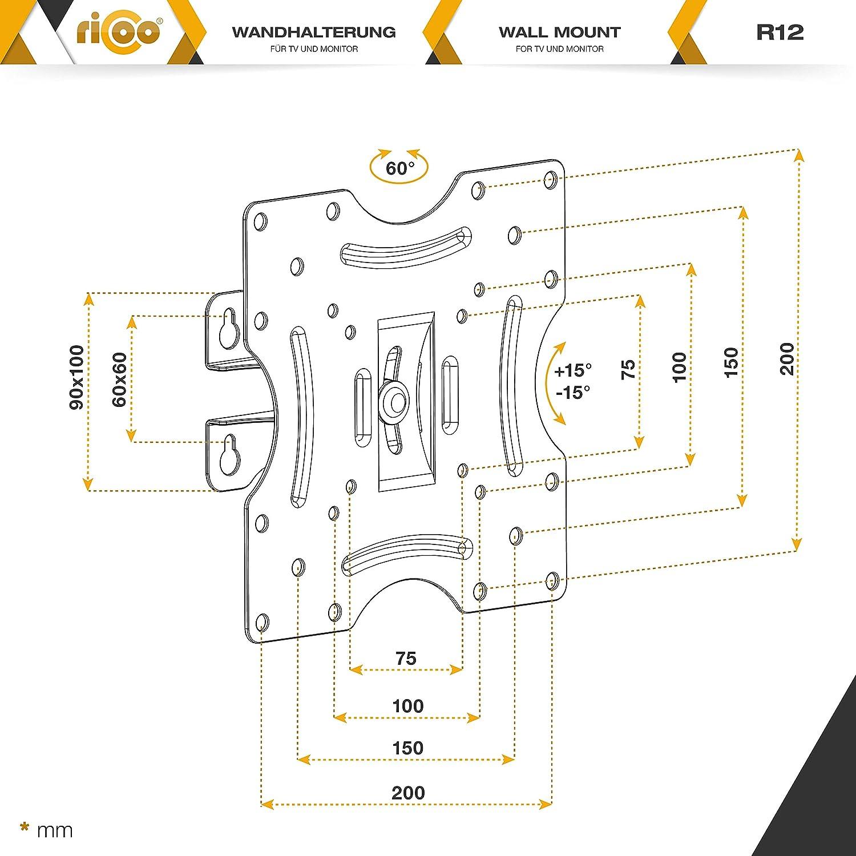 RICOO Universal TV Wandhalterung R12 Fernseh Halterung Schwenkbar Neigbar Aufh/ängung auch f/ür Curved LCD Fernseher Wand Halter Schwarz 33-81cm // 13-32 Zoll ca VESA 50x50 200x200