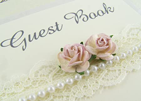 Cream, Ivory or White Personalised Wedding Guest Book.Vintage Style ...