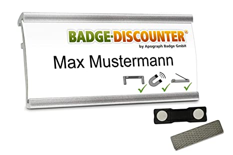 10 name badges for clothes NMSG metal tags magnetic pin clip 2 magnets reusable