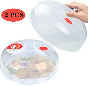 Microwave Plate Cover for Food Large Easy Grab Microwave Cover Splatter Guard Thick and Durable BPA Free-2Pack