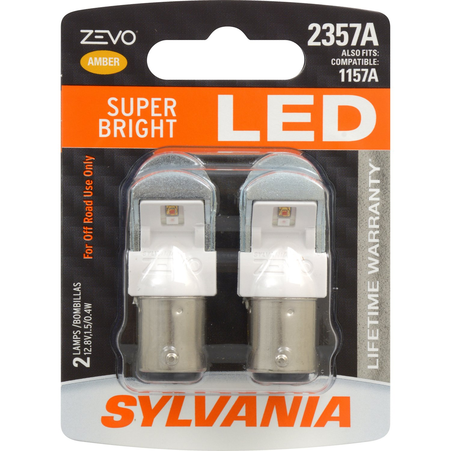 SYLVANIA Contains 2 Bulbs Ideal for Stop and Tail Lights Bright LED Bulb 2357 ZEVO LED Red Bulb