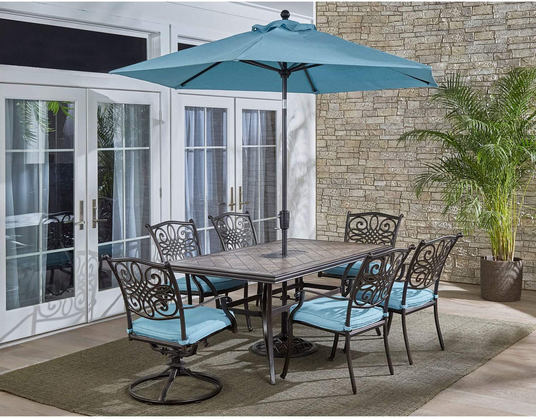 Hanover MONDN7PCSW2-BLU-SU Monaco 7-Piece Patio Dining Set in Blue Outdoor Furniture