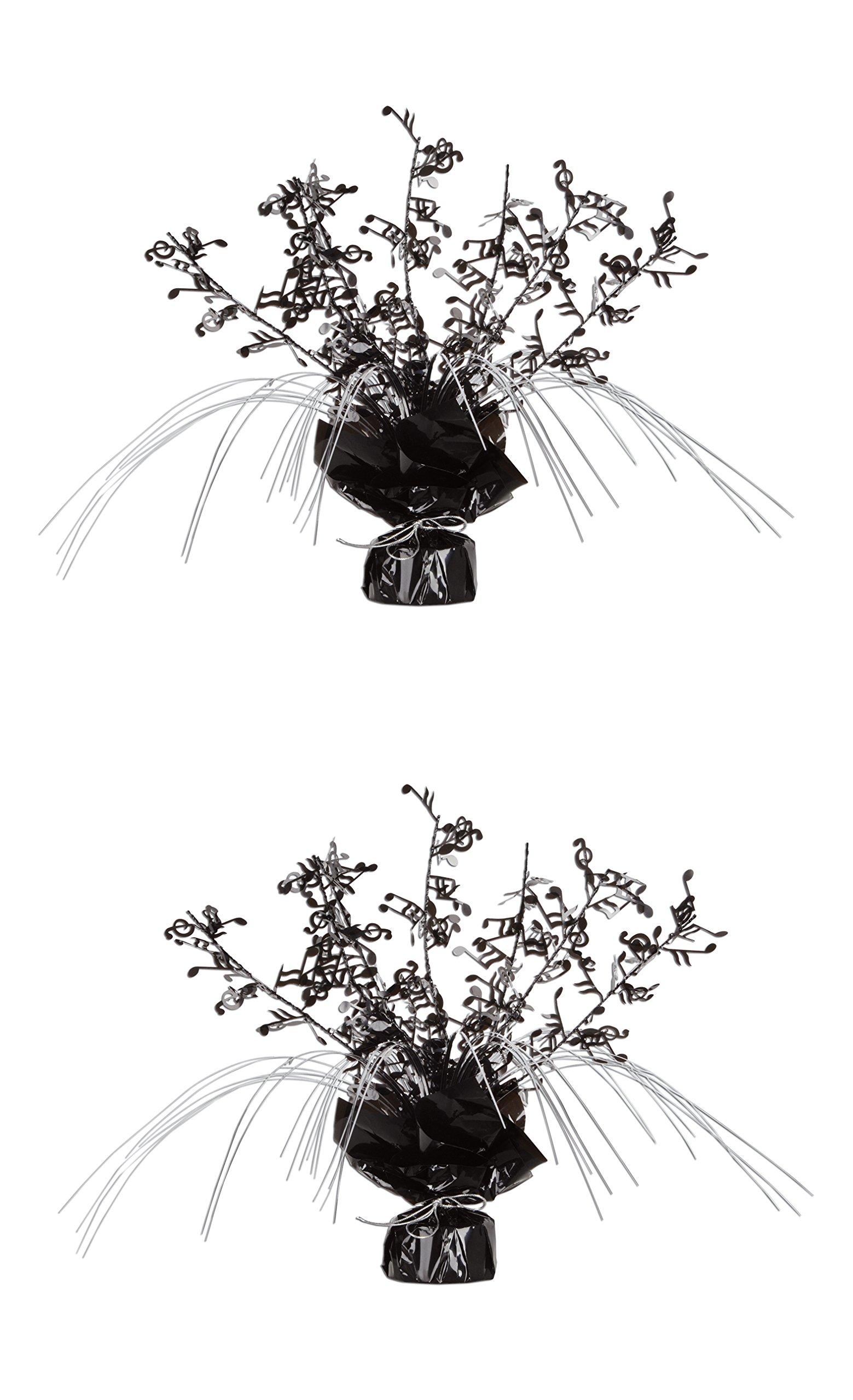 Beistle S57921AZ2, 2 Piece Musical Notes Gleam 'N Spray Centerpieces, 11'' (Black/Silver)