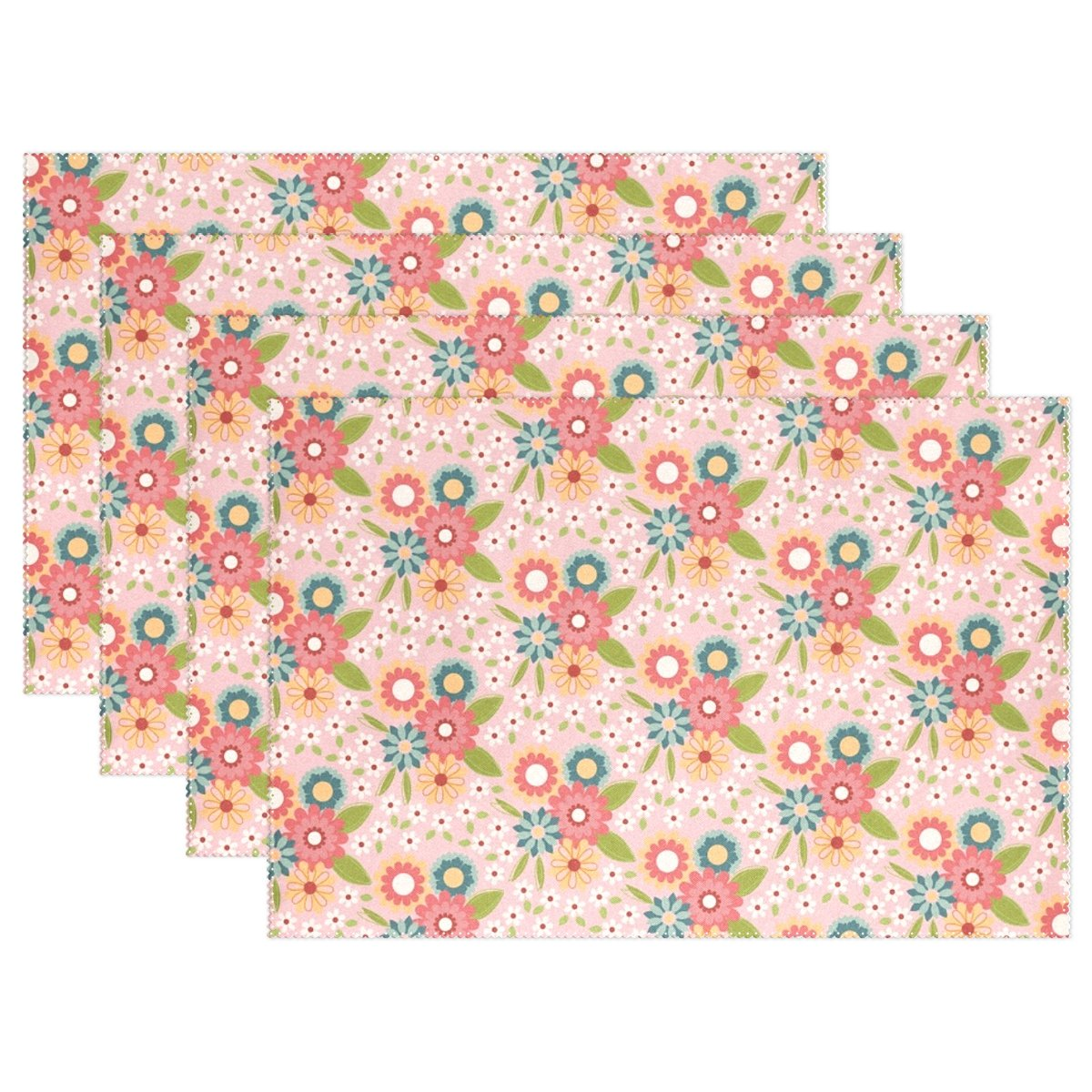 YPink Paper Texture Flowers Placemats Set Of 4 Heat Insulation Stain Resistant For Dining Table Durable Non-slip Kitchen Table Place Mats