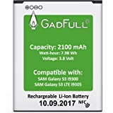 GadFull® Battery for Samsung Galaxy S3 | Production date 2017 | Corresponds to the original EB-L1G6LLU | Smartphone model S3 i9300 | Galaxy S3 LTE i9305 | Perfect as replacement battery