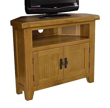 Arklow Oak Corner TV Stand/Oak Corner TV Cabinet/Living Room Storage:  Amazon.co.uk: Kitchen U0026 Home