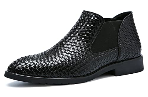 Santimon Chelsea Boots Men Patent Leather Weave Slip on Outdoor Formal Dress Casual Ankle Shoes 5.5
